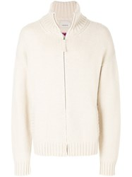 Laneus Zipped Knitted Sweater Cashmere S Nude Neutrals