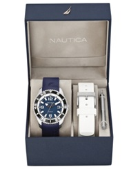 Nautica Watch Set Men's Interchangeable Navy And White Resin Straps 44Mm N11563g