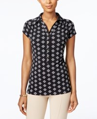 Charter Club Print Polo Top Only At Macy's Deep Black Stamp Combo