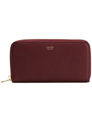 Tom Ford Logo Stamp Zip Wallet Women Calf Leather One Size Red
