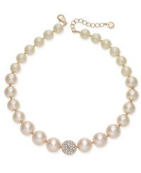Charter Club Rose Gold Tone Pave And Pink Imitation Pearl Collar Necklace Created For Macy's