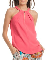 Trina Turk Quince Crepe Halter Top Soiree Pink