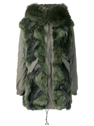 Mr And Mrs Italy Fur Trim Parka Coat Green
