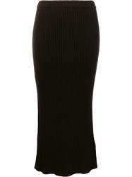 Allude Ribbed Knit Midi Dress Brown