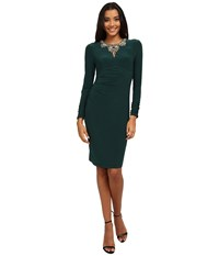 Vince Camuto Long Sleeve Jersey Dress W Center Front Keyhole Beading Green Women's Dress