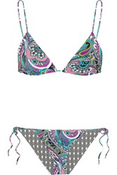 Etro Reversible Printed Triangle Bikini Black