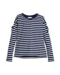 Kate Spade Striped Long Sleeve Tee W Bow Trim Size 7 14 Multi