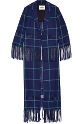 Msgm Fringed Checked Linen Jacket Storm Blue