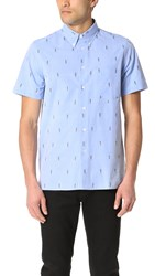Paul Smith Short Sleeve Casual Fit Allover Parrot Shirt Light Blue