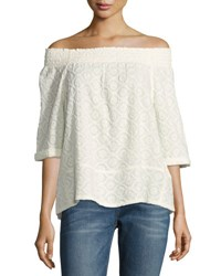 Current Elliott The Embroidered Off The Shoulder Smocked Tee Dirty White