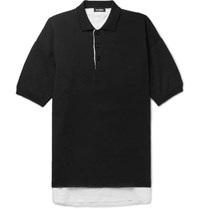 Raf Simons Oversized Linen Lined Knitted Cotton Polo Shirt Black