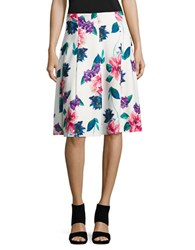 Ellen Tracy Flared Floral Print Skirt White