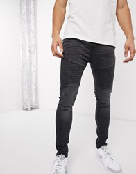Voi Jeans Super Skinny Biker In Washed Black