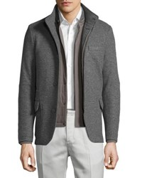 Loro Piana Cashmere Double Jersey 3 In 1 Sweater Jacket Grey Cash Lt Doub