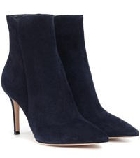 Gianvito Rossi Levy 85 Suede Ankle Boots Blue