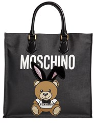 Moschino Teddy Playboy Faux Leather Tote Bag Black