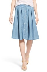 Women's Dex Pleat Button Front Chambray Skirt