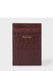 Paul Smith Men's Damson Heavy Grained Leather Credit Card Holder Brown