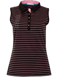 Green Lamb Cora Sleeveless Striped Polo Black