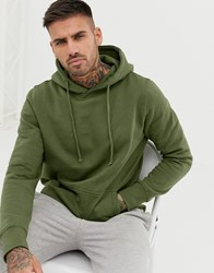 Pull And Bear Hoodie In Khaki Green