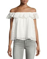 Philosophy Off The Shoulder Eyelet Top White
