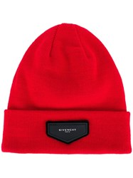 Givenchy Patch Detail Beanie Red