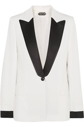 Tom Ford Satin Trimmed Cady Blazer White
