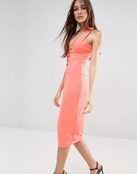 Hedonia Midi Pencil Dress With Lace Front Neon Orange