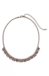 Sorrelli Fanned Baguette Crystal Necklace Purple Multi