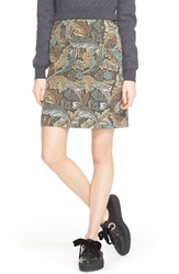 Marc By Marc Jacobs Leaf Print A Line Cotton Skirt Elm Brown Multi