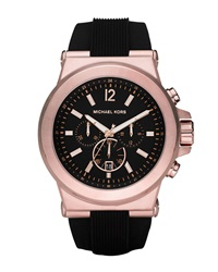 Oversized Dylan Silicone Chronograph Watch Black Michael Kors