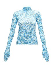 Vetements Glove Sleeve Floral Print Jersey Top Blue White