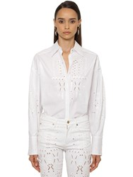 Roberto Cavalli Embroidered Cotton Poplin Shirt White