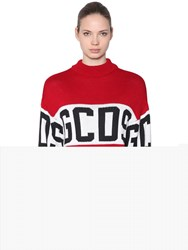 Gcds Logo Intarsia Wool Blend Knit Sweater Red