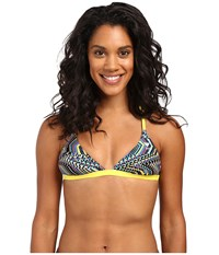 Tyr Glitch Triangle Bra Yellow Blue Women's Swimwear Multi