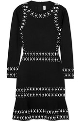 Michael Michael Kors Stud Embellished Stretch Knit Mini Dress Black