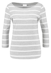 Vila Vistriped Long Sleeved Top Light Grey Melange Optical Snow Mottled Light Grey