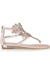 Rene Caovilla Crystal Embellished Metallic Karung Wedge Sandals