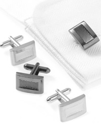 Geoffrey Beene Cufflinks Textured Square Boxed Set Black Nickel