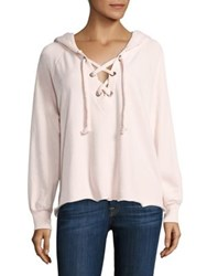 Wildfox Couture Hutton Lace Up Hoodie Seashell Pink Clean Black