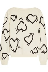 Max Mara Heart Intarsia Cotton Blend Sweater Cream