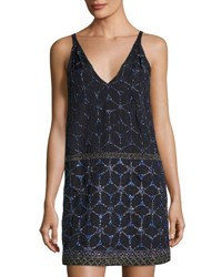 French Connection Madeline Mosaic Beaded Dress Dark Blue