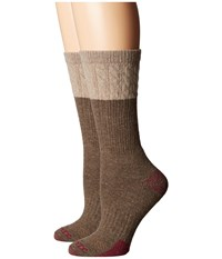 Carhartt Merino Wool Blend Textured Crew Socks 2 Pair Pack Brown Women's Crew Cut Socks Shoes