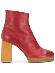 Chalayan Platform Ankle Boots Red