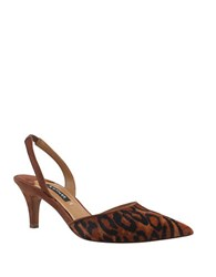 Kay Unger Baylee Leopard Print Calf Hair Sling Backs
