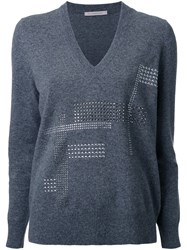 Christopher Kane Hotfix V Neck Jumper Grey