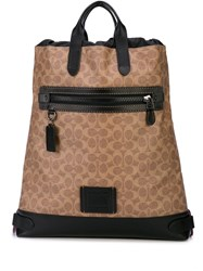 Coach Academy Drawstring Backpack Brown