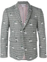 Thom Browne Duck Embroidery Gun Club Sport Coat 60