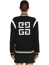 Givenchy Logo Wool Knit Bomber Jacket Black