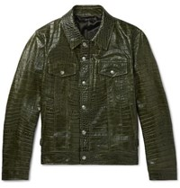 Tom Ford Slim Fit Croc Effect Leather Trucker Jacket Green